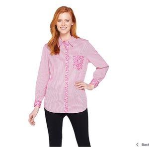 Susan Graver Pink Pinstripe Button Up Top